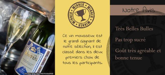 La Cuvée Seigneur Ruffus est la grande gagnante de notre classement avec tous les participants qui placent ce vin mousseux dans leur 2 vins préférés.